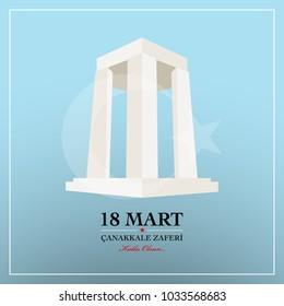 Republic of Turkey National Celebration Card. 18 March Canakkale victory day.  Turkish :  Canakkale zaferi 18 Mart. English translation:  Anniversary of Canakkale victory day 18 March