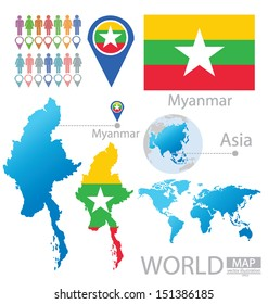 Republic of the Union of Myanmar. flag. Asia. World Map. vector Illustration.