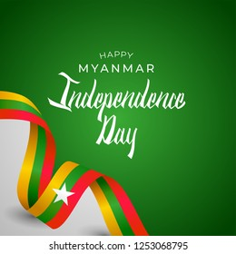 Republic of the Union of Myanmar Independence Day Vector Template Design Illustration