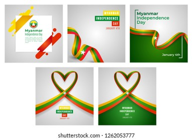 Republic of the Union of Myanmar Independence Day Vector Set of Templates Design Illustration