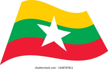 Republic of the Union of Myanmar(Burma). National flag. Abstract concept, icon. Vector illustration on white background.