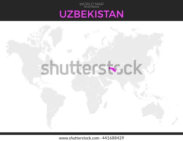 Republic Uzbekistan Location Modern Detailed Vector Stock ...