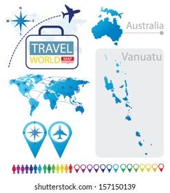 Republic of Vanuatu. Australia. World Map. Travel vector Illustration.