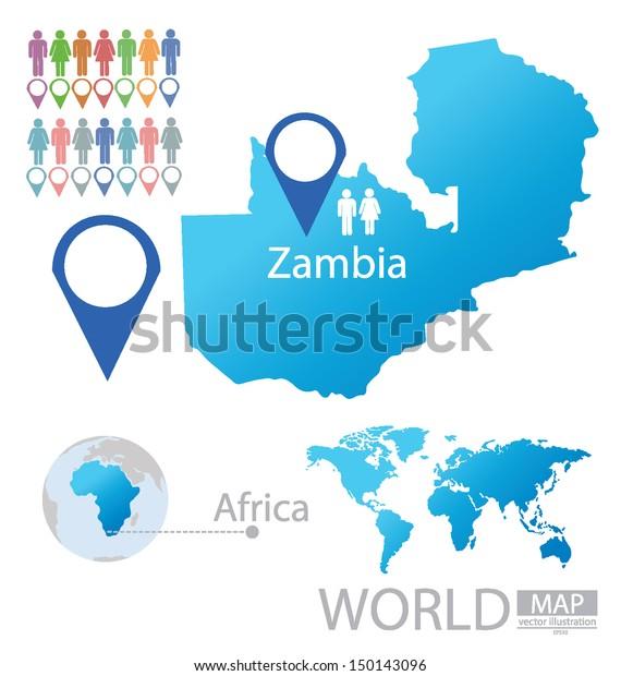 Republic Zambia World Map Vector Illustration Stock Vector ...