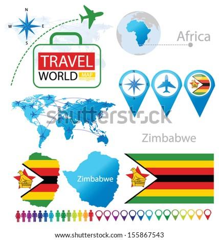 Republic Zimbabwe Flag World Map Travel Stock Vector Royalty Free