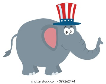 Republican Elephant Cartoon Character With Uncle Sam Hat. Vector Illustration Flat Design Style Isolated On White