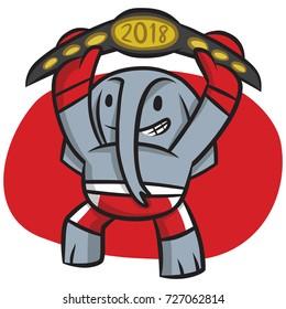 The republican elephant raises the belt above his head in triumph