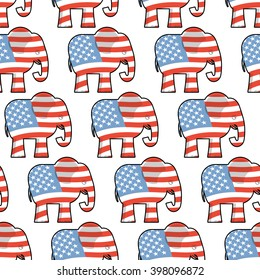 Republican Elephant seamless pattern. Symbol of political party in America. Texture for election and debate USA. Political backdrop
