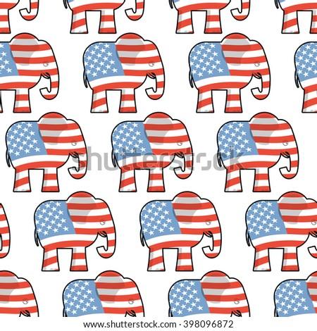 Republican Elephant Seamless Pattern Symbol Political Stock Vector
