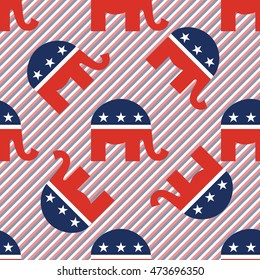 Republican elephants seamless pattern on red and blue stripes background. USA presidential elections patriotic wallpaper with republican elephants. Tiling pattern vector illustration.