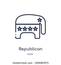 republican icon from united states outline collection. Thin line republican icon isolated on white background.