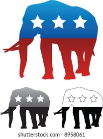 Republican Party Elephant - Vector illustration with grayscale and black and white versions included.