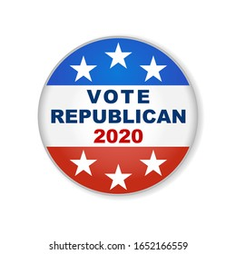 Republican USA election 2020 design. 2020 United States of America presidential election button design. Patriotic stars and stripes theme.