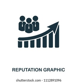 Reputation Increase Graphic icon. Mobile apps, printing and more usage. Simple element sing. Monochrome Reputation Increase Graphic icon illustration.
