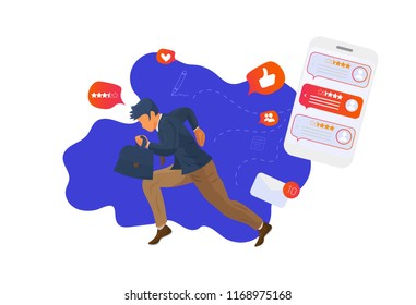 Reputation management concept vector illustration. Customer feedback online review report client survey presentation template. A running businessmen with a bag and infographic charts elements.
