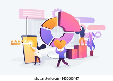 Reputation management, professional SEO analytics, social network statistics analysis. Attribution modeling, brand insight, measurement tools concept. Vector isolated concept creative illustration
