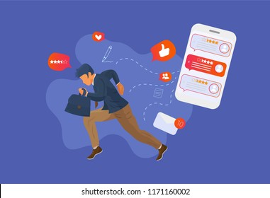 Reputation management vector illustration: running white collar businessman or business owner from smartphone with reviews and feedbacks. Reputation feedback management or Spin doctor concept.