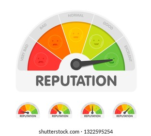 Reputation meter withdifferent emotions. Measuring gauge indicator vector illustration. Black arrow in coloured chart background.