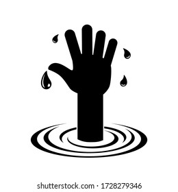 Request for help is the hand of a drowning man. The concept of financial crisis, fall, collapse. Abstract illustration, vector