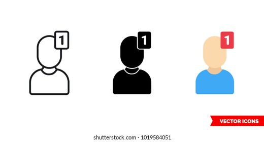 Request icon of 3 types: color, black and white, outline. Isolated vector sign symbol.