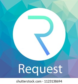 Request Network (REQ) vector logo. A decentralized network for payment requests and crypto currency