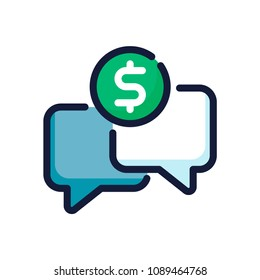 Request payment color line icon. Ask a price vector illustration.