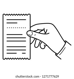 Request receipt. Hand holding a quittance.  Vector flat outline icon illustration isolated on white background.
