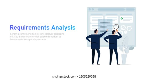 Requirement analysis in business or system development creating software requirement and specification describing user task in document with team