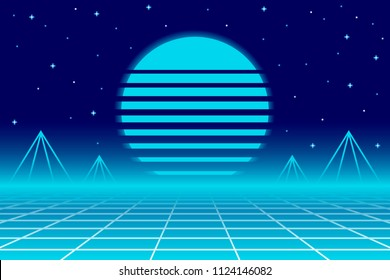 Rerto Electro 80s Background. EPS10 Vector With Transparency