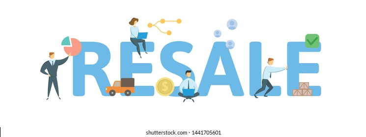 RESALE. Concept with people, letters and icons. Colored flat vector illustration. Isolated on white background.