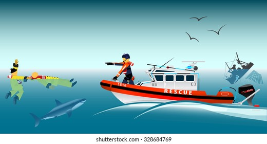 Rescue boat and fishermen at sea. Brigade and rescue team. The collapse. A sinking ship. Shark. Fishing net. Swimmer. Coast security. Vector illustration.