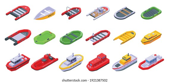 Rescue boat icons set. Isometric set of rescue boat vector icons for web design isolated on white background
