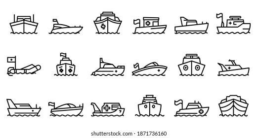 Symbol für Rettungsboote gesetzt. Rahmenset für Bereitschaftsbootvektorsymbole für Webdesign einzeln auf weißem Hintergrund