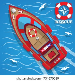 Rescue boat. View from above. Vector illustration.