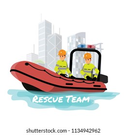 Rescue boat.Vector illustration cartoon character.