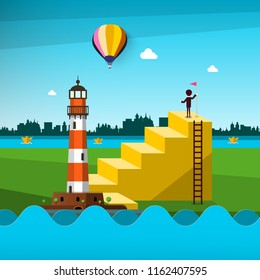 Rescue Concept. Man with Flag on the Top of Stairs with Lighthouse and Paper Boats on River. City Skyline on Background. Abstract Vector Landscape.