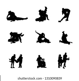 Rescue drowning first aid vector silhouette. Patient woman in unconscious. Drunk person overdose party. Sneak attack victim rescue. CPR rescue team. Victim of fire evacuation. Earthquake rescue.