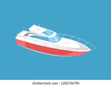 Rescue emergency sailboat, coast guard transportation vehicle sailing vector illustration icon isolated. Guarding transport boat, modern yacht sign