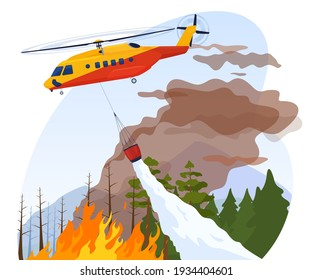 A rescue helicopter extinguishes a forest fire. Protection of the population from natural disasters. Vector illustration.