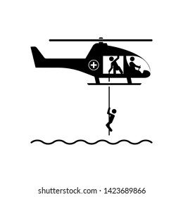 Rescue Helicopter Icon. Emergency, Evacuation Illustration As A Simple Vector Sign & Trendy Symbol for Design and Websites, Presentation or Mobile Application.