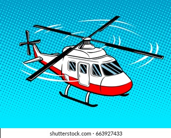 Rescue helicopter pop art style. Hand drawn comic book imitation vector illustration