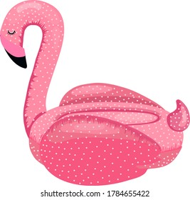 Rescue inflatable circle in the form of a pink Flamingo. Vector illustration on a white background .