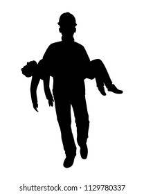 Rescue man with equipment silhouette vector