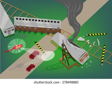 Rescue Operation in a Train Accident Wreckage concept. Editable EPS10 Illustration.
