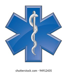 Rescue Paramedic Medical Logo is an illustration of a Star of Life rescue or paramedic symbol on a white background.
