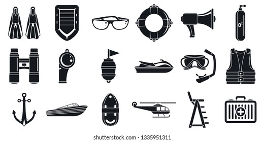 Rescue sea safety icons set. Simple set of rescue sea safety vector icons for web design on white background