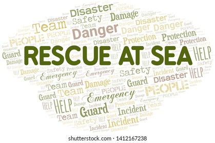 Rescue At Sea Word Cloud. Wordcloud Made With Text.
