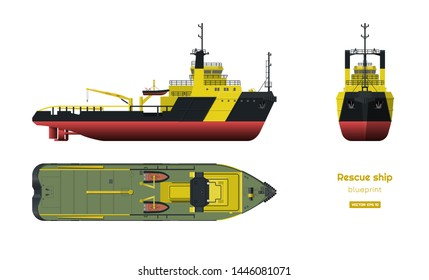 Rescue ship on white background. Top, side and front view. Industry blueprint in realistic style. Isolated drawing of boat. Vector illustration