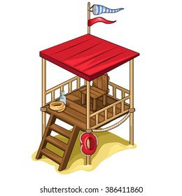 Rescue tower on the beach. Vector illustration.