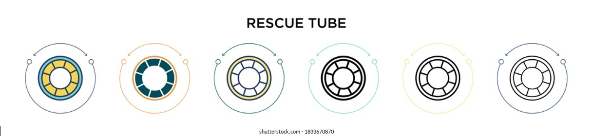 Rescue tube icon in filled, thin line, outline and stroke style. Vector illustration of two colored and black rescue tube vector icons designs can be used for mobile, ui, web